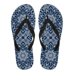 Blue And White Bohemian Mandala Print Men's Flip Flops GearFrost