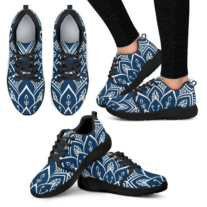 Blue And White Bohemian Mandala Print Women's Athletic Shoes GearFrost