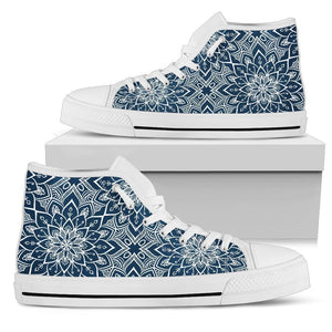 Blue And White Bohemian Mandala Print Women's High Top Shoes GearFrost