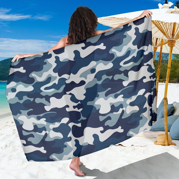 Blue And White Camouflage Print Beach Sarong Wrap GearFrost