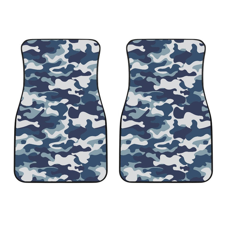 Blue And White Camouflage Print Front Car Floor Mats GearFrost