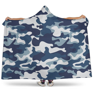 Blue And White Camouflage Print Hooded Blanket GearFrost