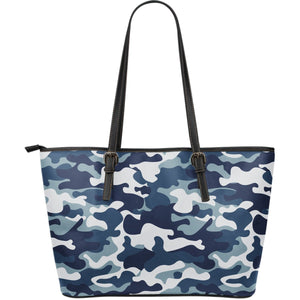 Blue And White Camouflage Print Leather Tote Bag GearFrost