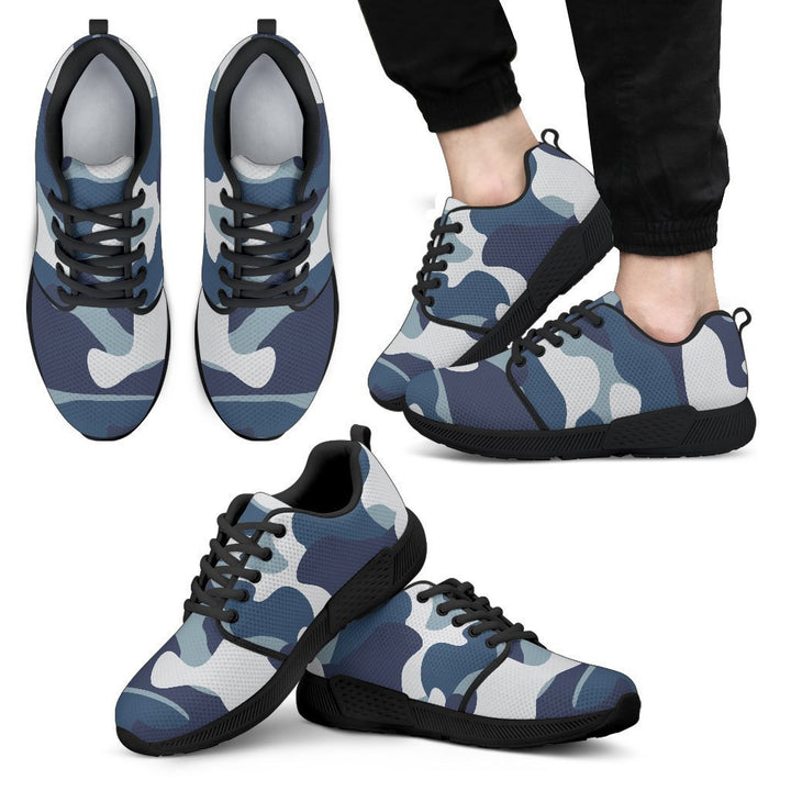 Blue And White Camouflage Print Men's Athletic Shoes GearFrost