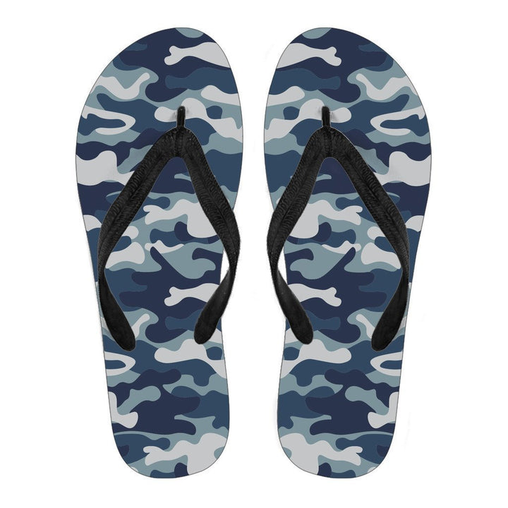 Blue And White Camouflage Print Men's Flip Flops GearFrost