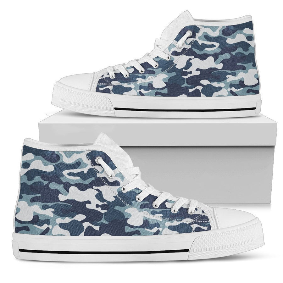 Blue And White Camouflage Print Men's High Top Shoes GearFrost