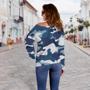 Blue And White Camouflage Print Off Shoulder Sweatshirt GearFrost