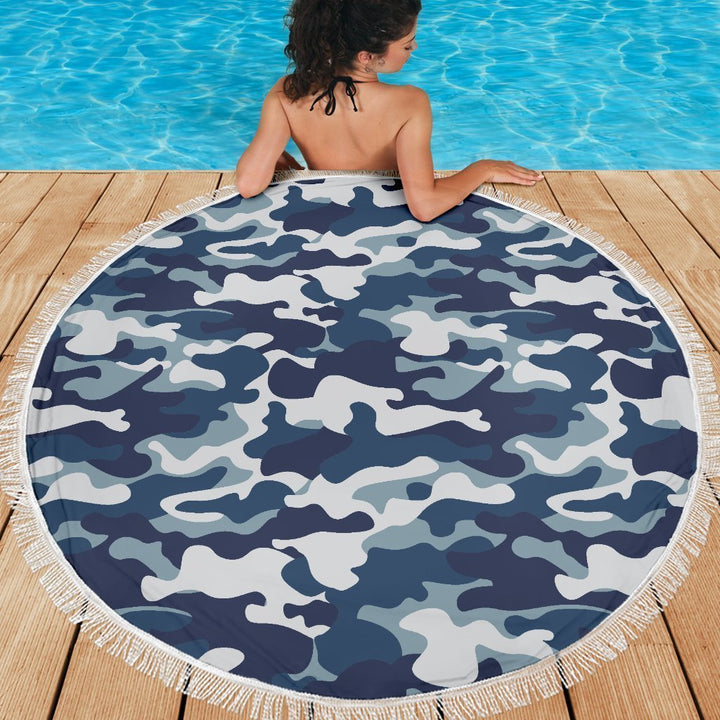 Blue And White Camouflage Print Round Beach Blanket GearFrost