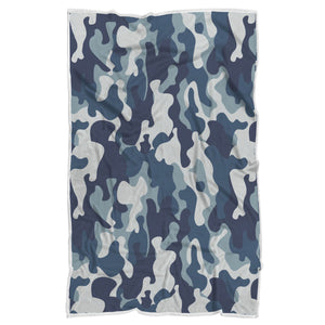 Blue And White Camouflage Print Sherpa Blanket GearFrost