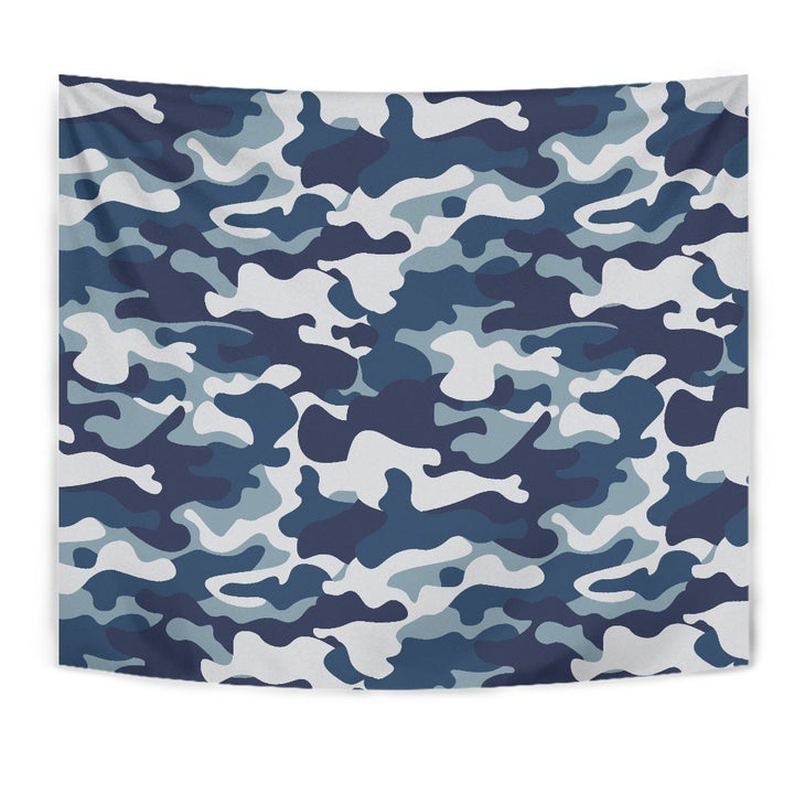 Blue And White Camouflage Print Wall Tapestry GearFrost