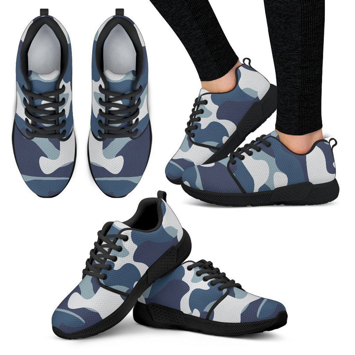 Blue And White Camouflage Print Women's Athletic Shoes GearFrost