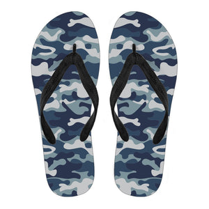 Blue And White Camouflage Print Women's Flip Flops GearFrost