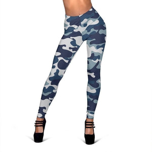 Blue And White Camouflage Print Women's Leggings GearFrost