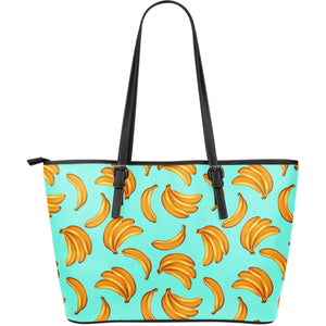 Blue Banana Pattern Print Leather Tote Bag GearFrost