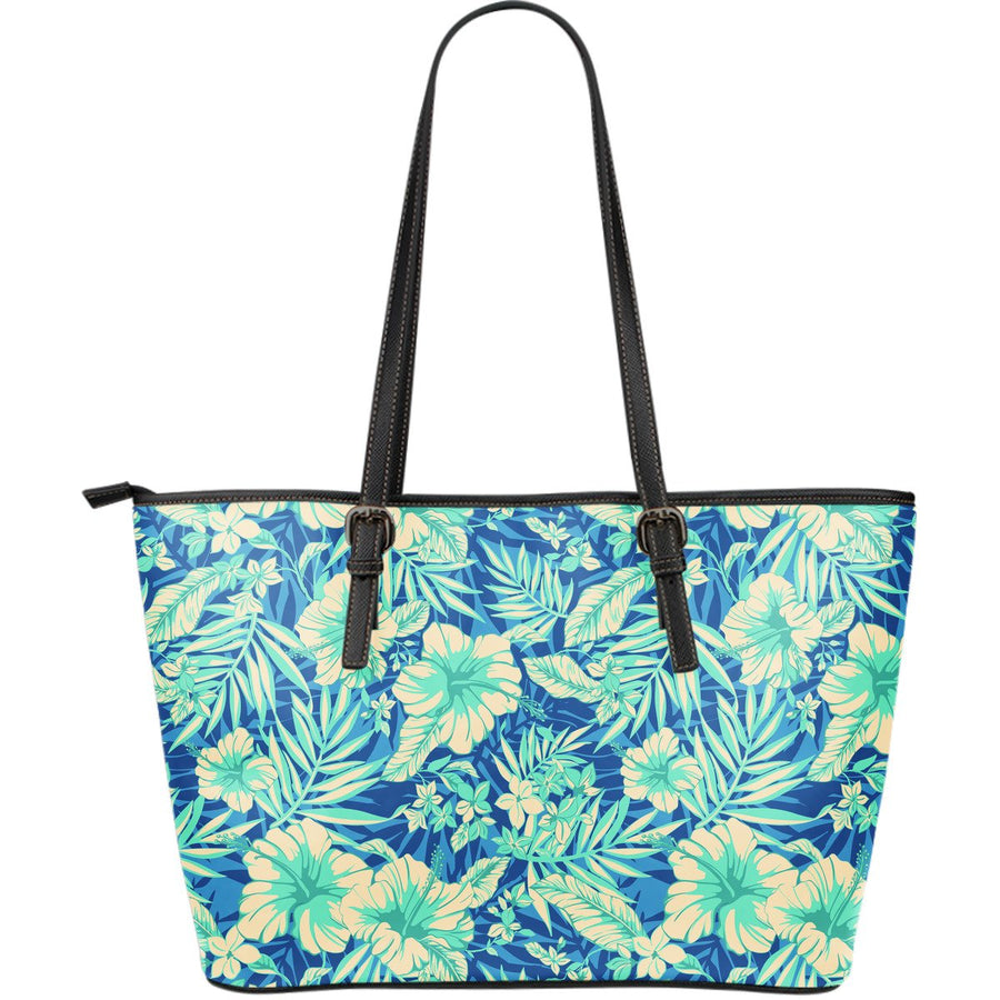 Blue Blossom Tropical Pattern Print Leather Tote Bag GearFrost