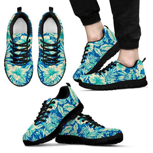 Blue Blossom Tropical Pattern Print Men's Sneakers GearFrost