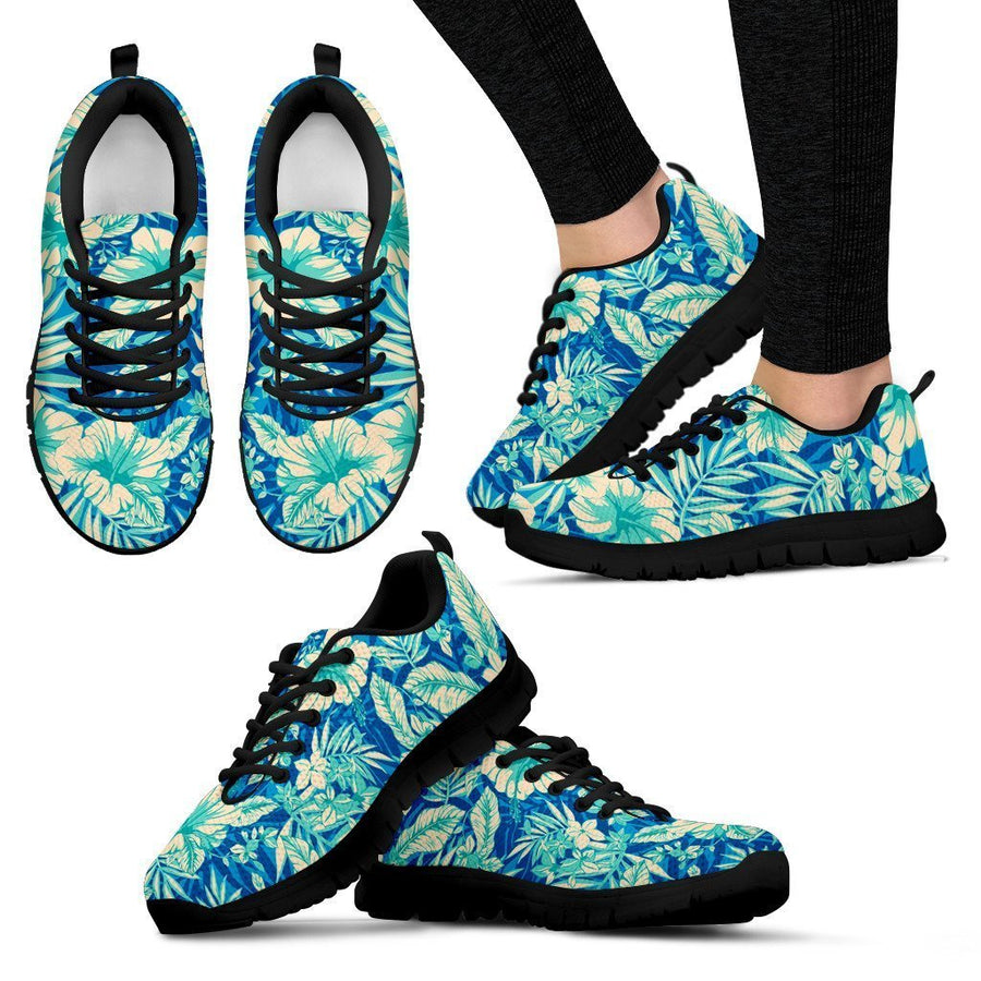 Blue Blossom Tropical Pattern Print Women's Sneakers GearFrost