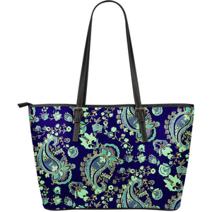 Blue Bohemian Paisley Pattern Print Leather Tote Bag GearFrost