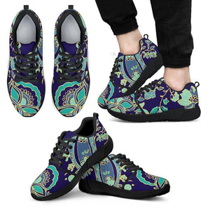 Blue Bohemian Paisley Pattern Print Men's Athletic Shoes GearFrost