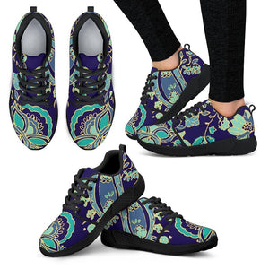 Blue Bohemian Paisley Pattern Print Women's Athletic Shoes GearFrost