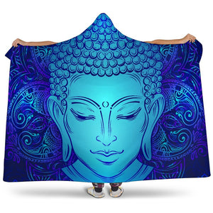 Blue Buddha Print Hooded Blanket GearFrost