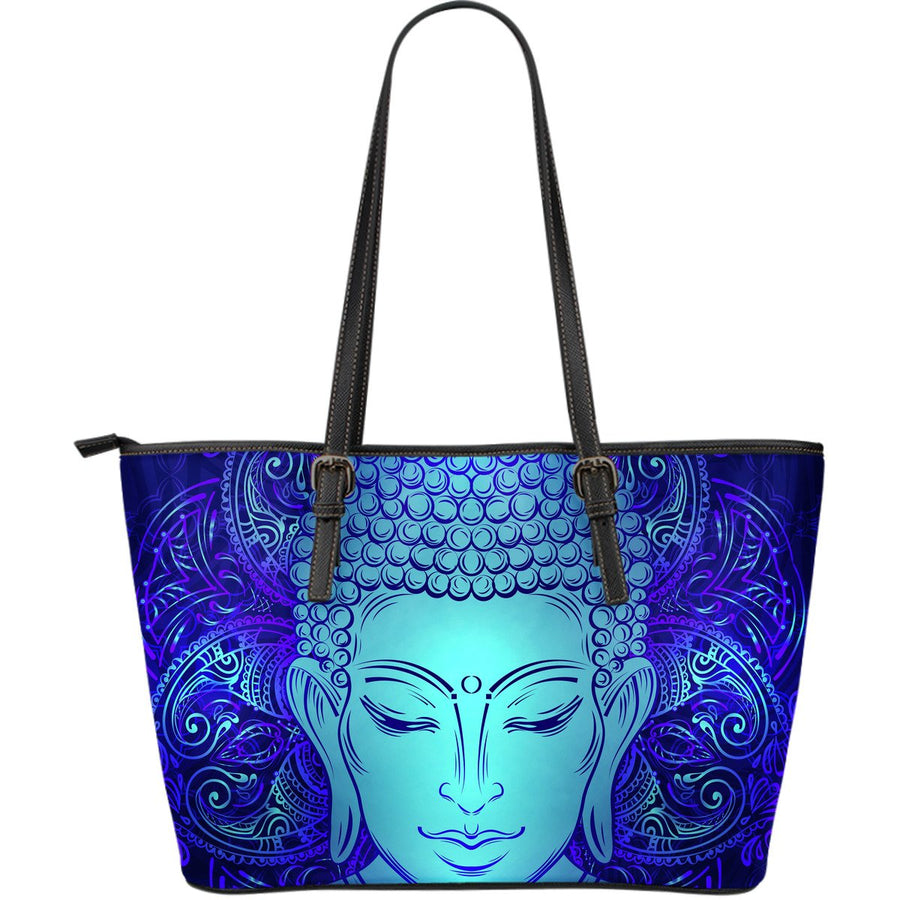 Blue Buddha Print Leather Tote Bag GearFrost