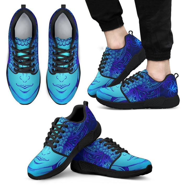 Blue Buddha Print Men's Athletic Shoes GearFrost
