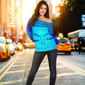 Blue Buddha Print Off Shoulder Sweatshirt GearFrost
