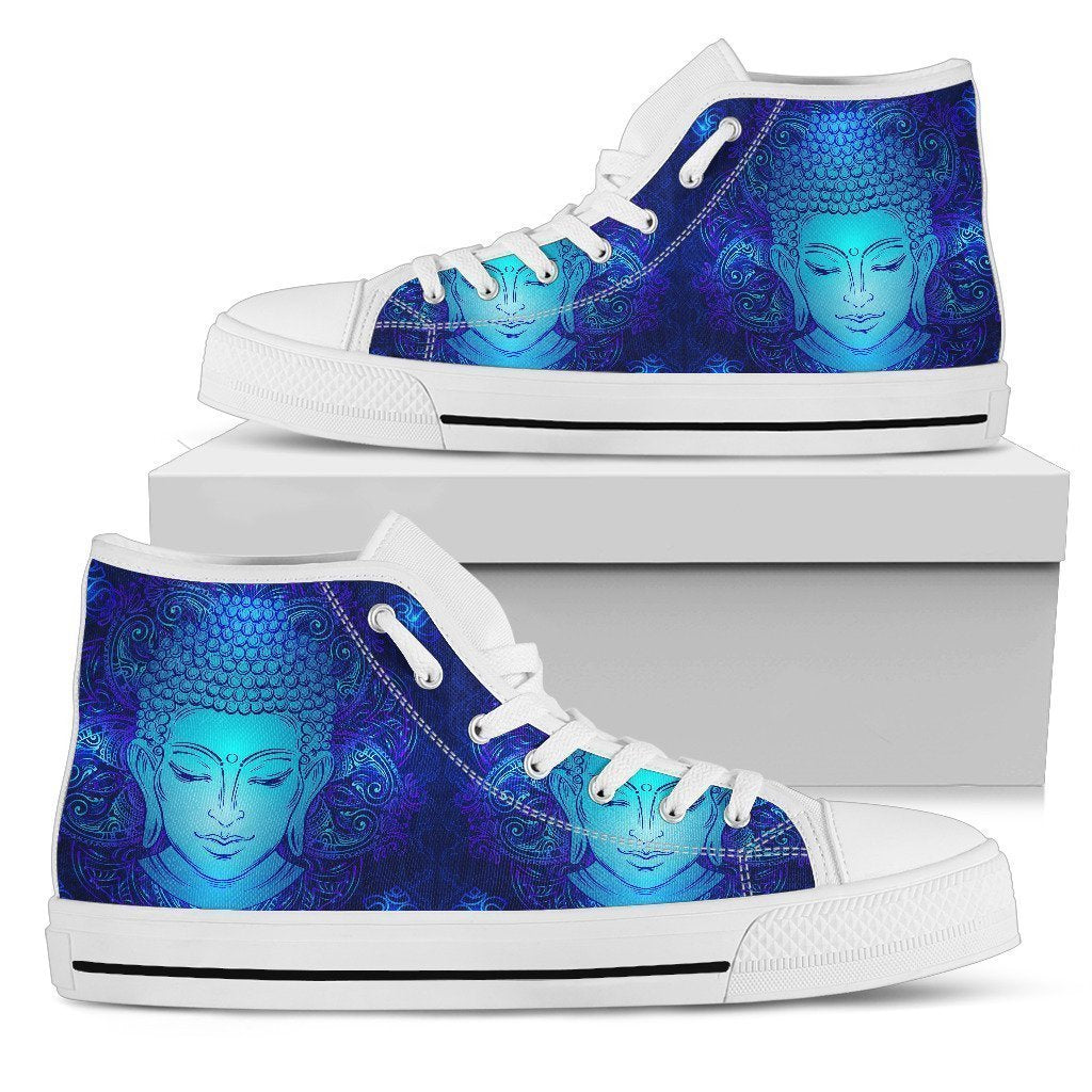 Blue Buddha Print Women's High Top Shoes GearFrost