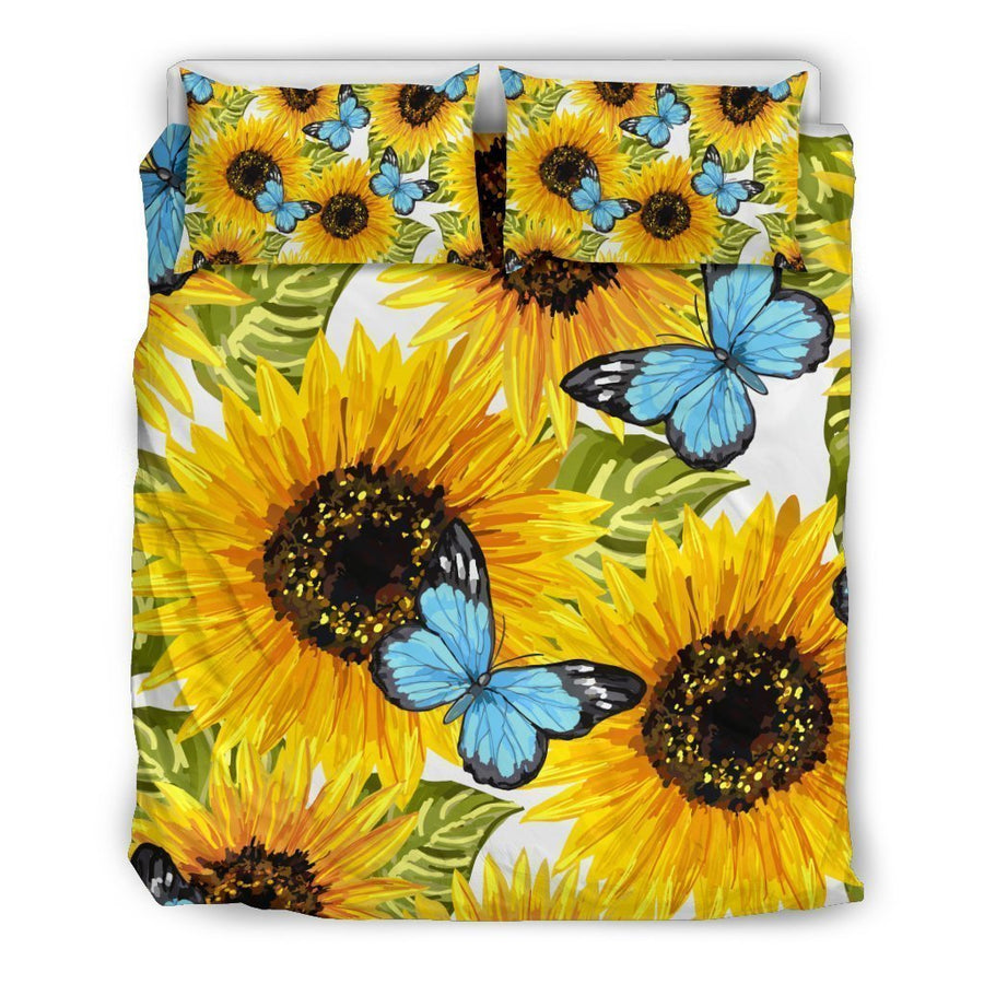 Blue Butterfly Sunflower Pattern Print Duvet Cover Bedding Set GearFrost