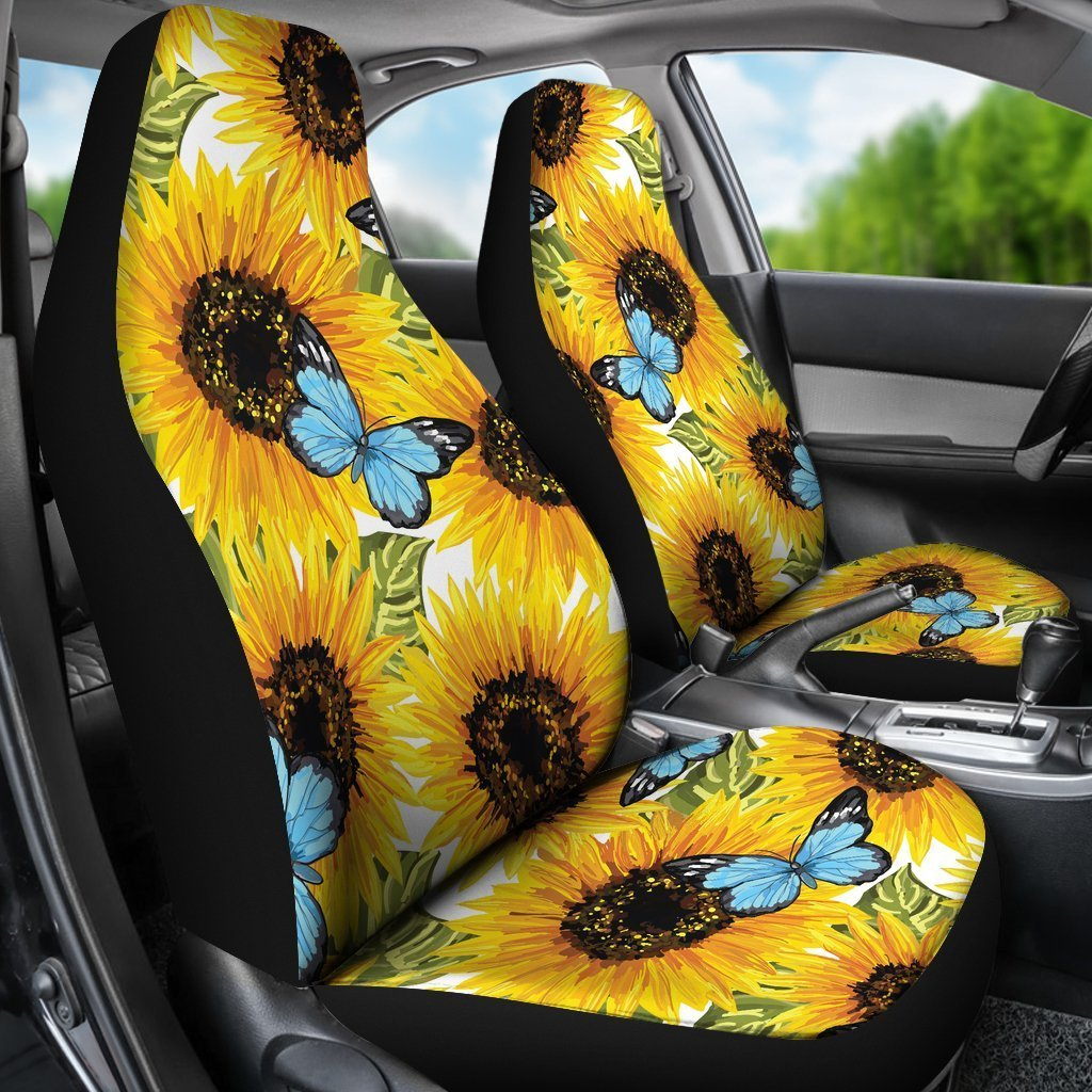 Admirable Blue Butterfly Sunflower Pattern Print Universal Fit Car Seat Covers Andrewgaddart Wooden Chair Designs For Living Room Andrewgaddartcom