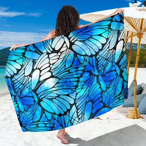 Blue Butterfly Wings Pattern Print Beach Sarong Wrap GearFrost