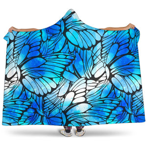 Blue Butterfly Wings Pattern Print Hooded Blanket GearFrost