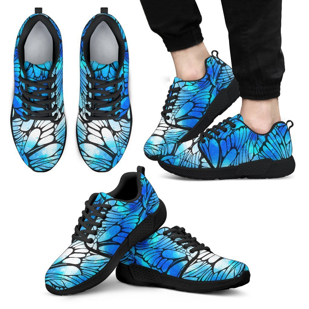 88331f0a8 Blue Butterfly Wings Pattern Print Men's Athletic Shoes GearFrost. Product  image 1 ...