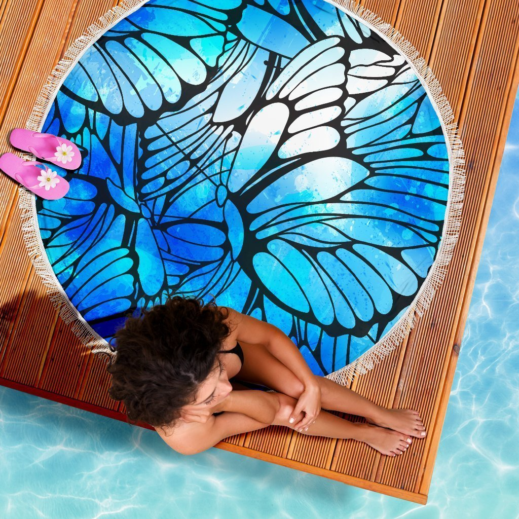c49d77e1b Blue Butterfly Wings Pattern Print Round Beach Blanket GearFrost. Product  image 1 ...