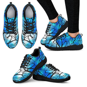 Blue Butterfly Wings Pattern Print Women's Athletic Shoes GearFrost