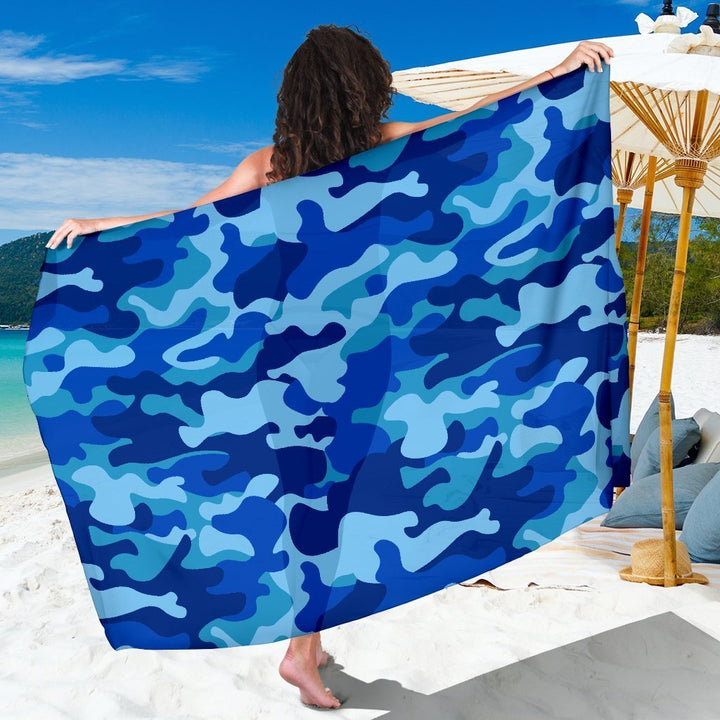 Blue Camouflage Print Beach Sarong Wrap GearFrost