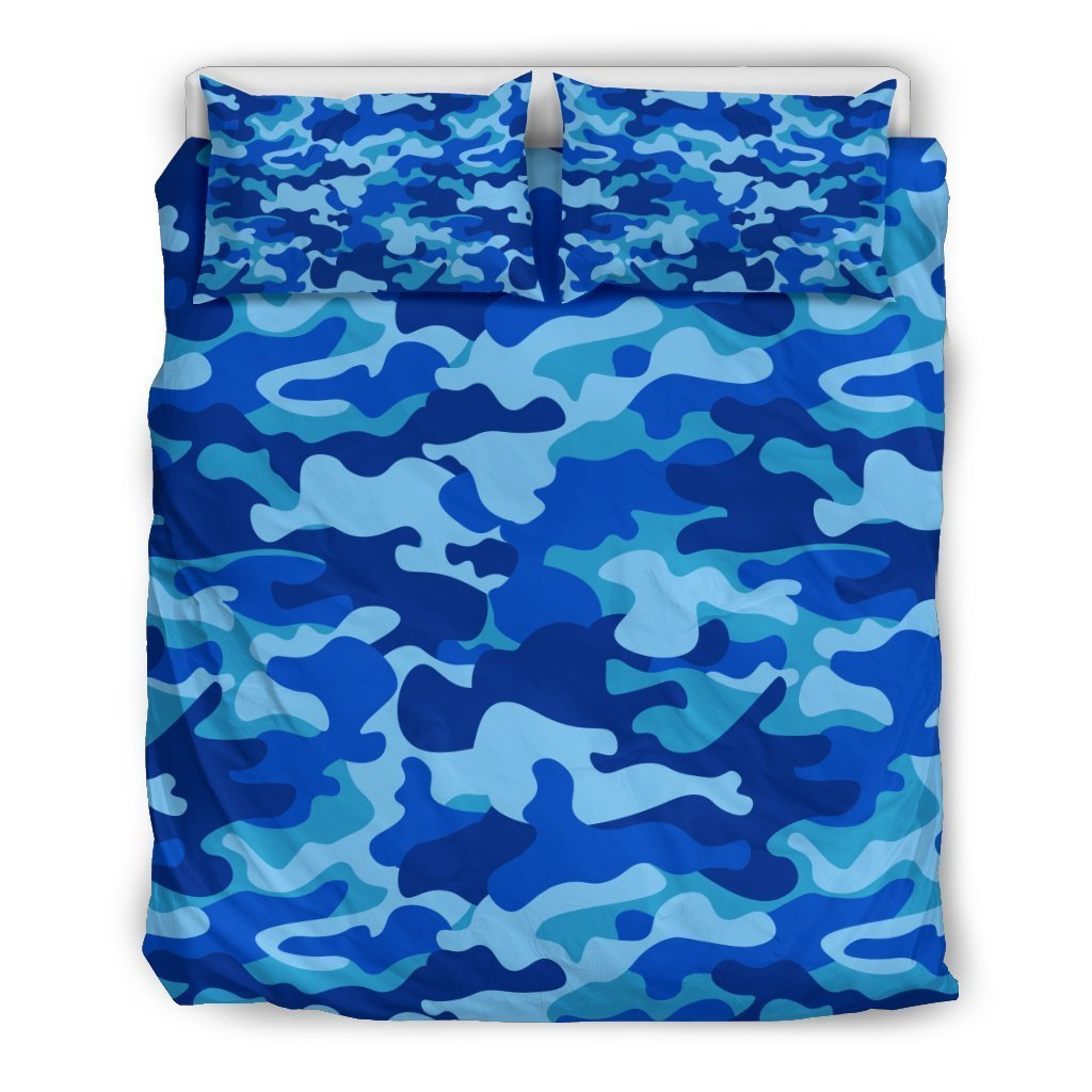 Blue Camouflage Print Duvet Cover Bedding Set GearFrost