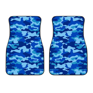 Blue Camouflage Print Front Car Floor Mats GearFrost