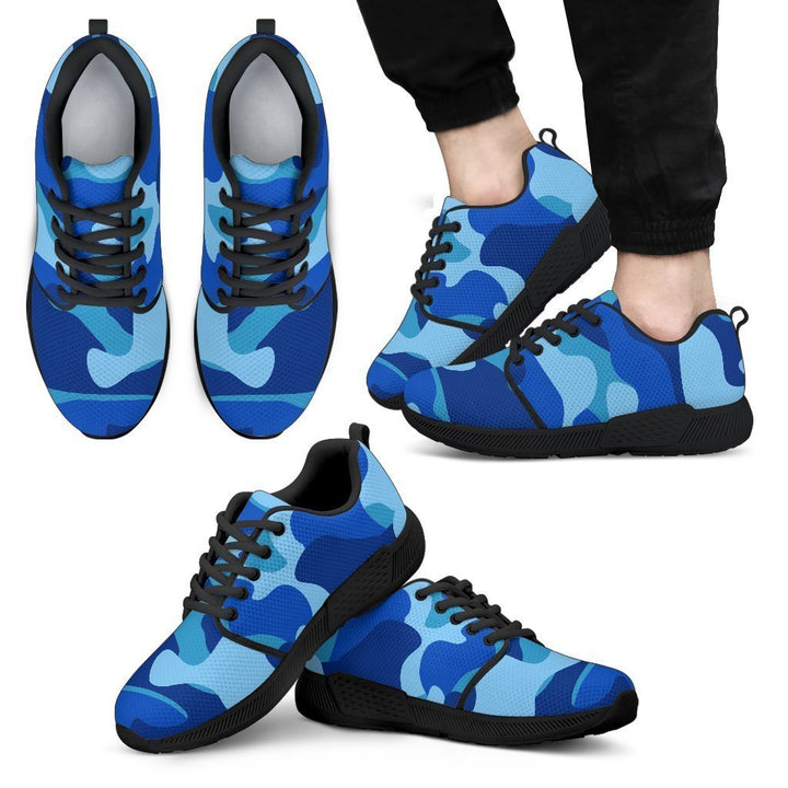 Blue Camouflage Print Men's Athletic Shoes GearFrost