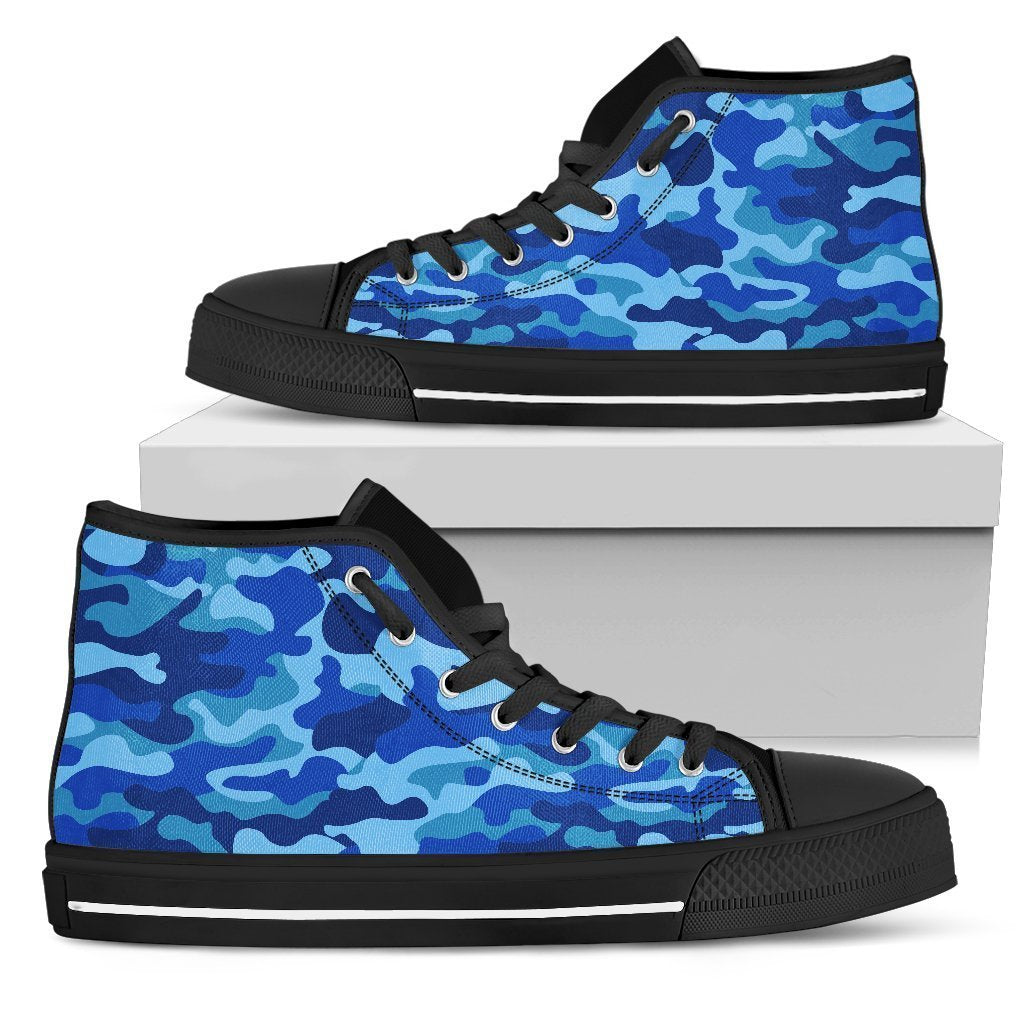 Blue Camouflage Print Men's High Top