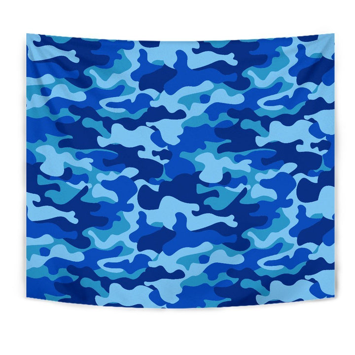 Blue Camouflage Print Wall Tapestry GearFrost