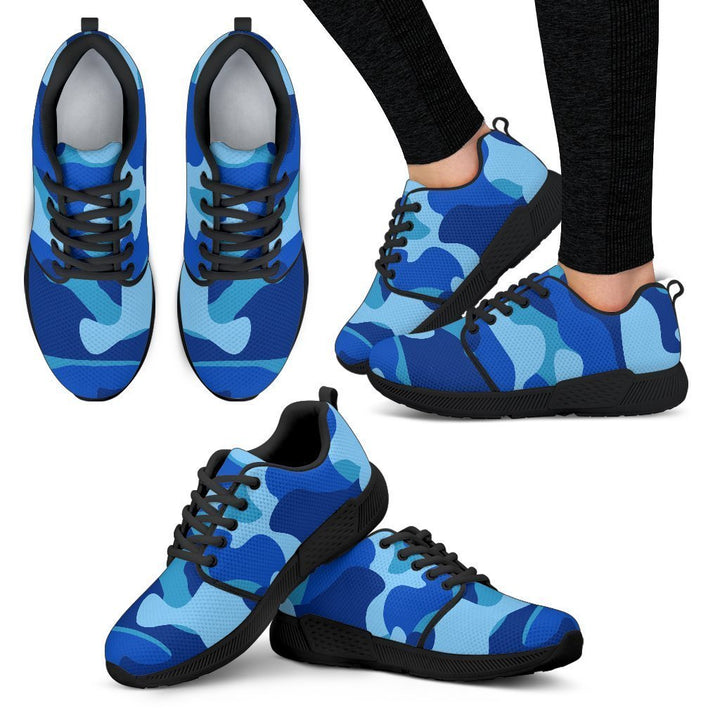 Blue Camouflage Print Women's Athletic Shoes GearFrost