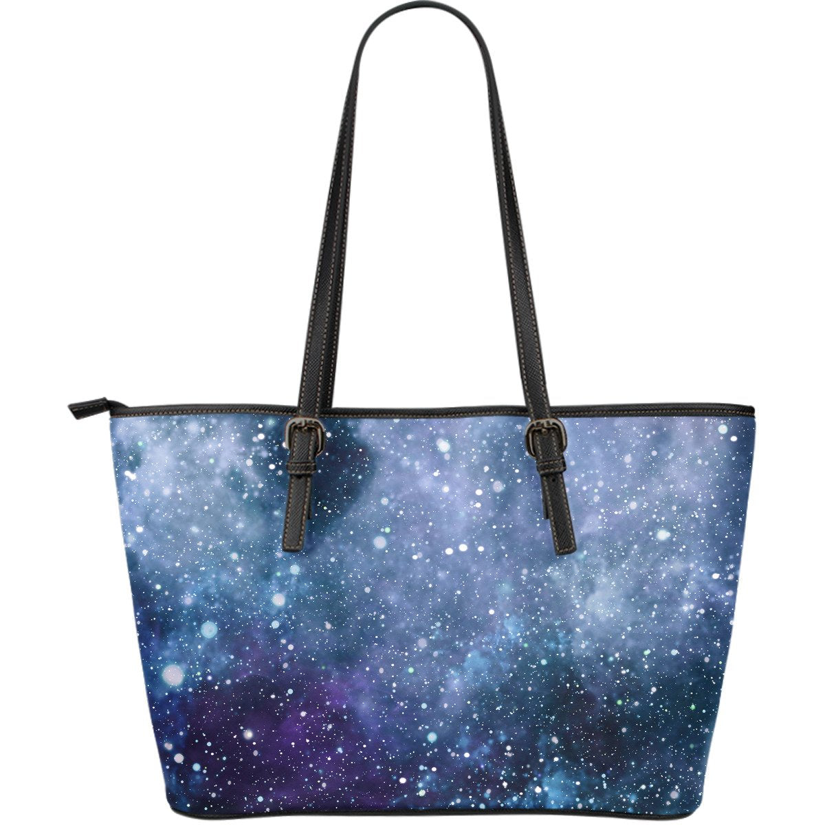 Blue Cloud Starfield Galaxy Space Print Leather Tote Bag GearFrost