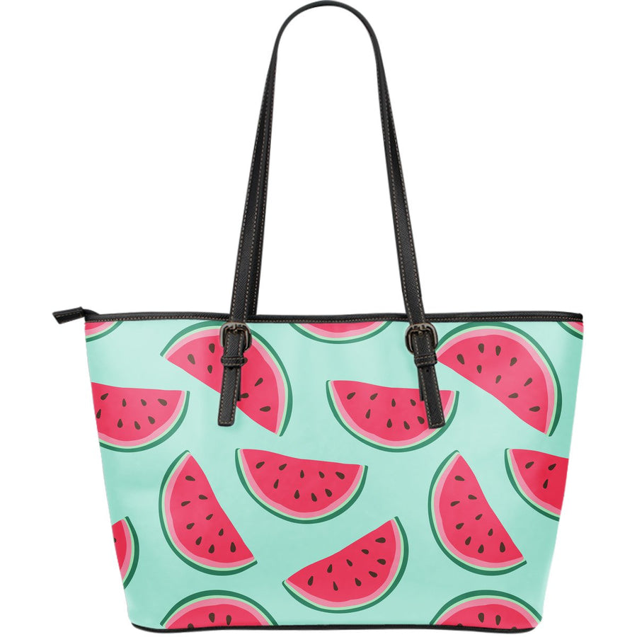Blue Cute Watermelon Pattern Print Leather Tote Bag GearFrost