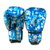 Blue Digital Camo Pattern Print Boxing Gloves