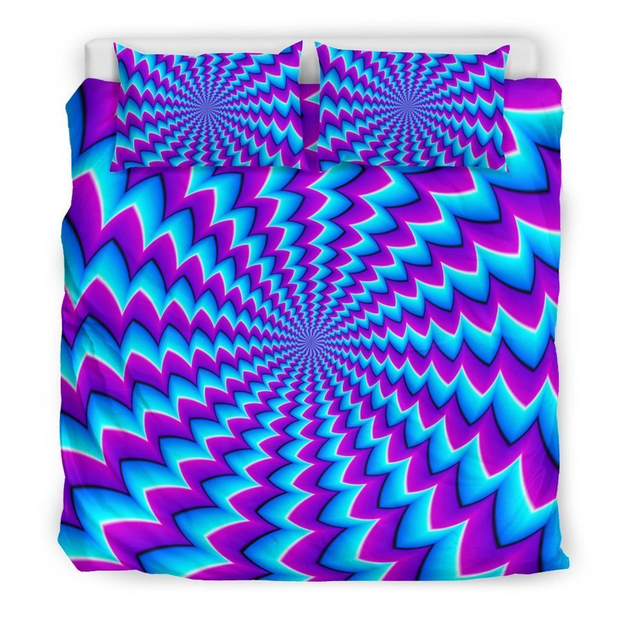 Blue Dizzy Moving Optical Illusion Duvet Cover Bedding Set GearFrost