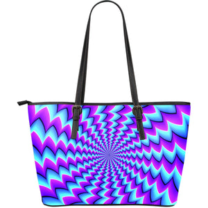 Blue Dizzy Moving Optical Illusion Leather Tote Bag GearFrost
