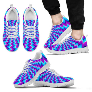 Blue Dizzy Moving Optical Illusion Men's Sneakers GearFrost