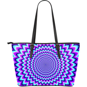 Blue Expansion Moving Optical Illusion Leather Tote Bag GearFrost